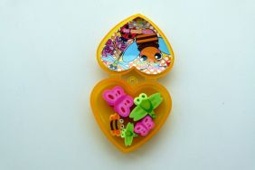 Kawaii Insect Erasers in Heart Shape Yellow Plastic Box