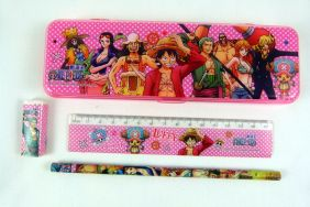 Kawaii Manga Style Stationery Plastic Pencil Case, Pencil, Rubber and Ruler  Set - Pink