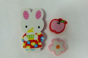 Kawaii Pink Ear Bunny Rabbit with Flower and Apple Erasers (3 pieces)