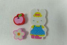 Kawaii Pink Ribbon Bunny Rabbit with Flower and Apple Erasers (3 pieces)