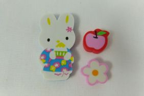 Kawaii Yellow Ear Bunny Rabbit with Flower and Apple Erasers (3 pieces)