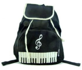 PartyErasers Keyboard & Treble Clef Backpack in Black