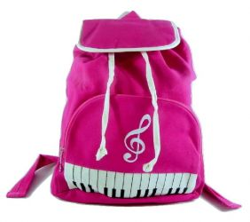 PartyErasers Keyboard & Treble Clef Backpack in Pink