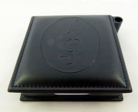 Music Themed Leather-like Memo Pad with Pen Holder - Stamped Treble Clef Design