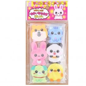Lemon Animal Friendships - hamster, duck, dog, kitty, bear and bunny Erasers (6 pieces) from Japan