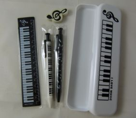 Music Themed White Pencil Case Stationery Set - Mechanical Pencil, Mechanical Pen, 15cm Ruler and Eraser