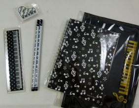 Music Themed Zipper Pouch Stationery Set - A5 Black Musical Notes Spiral Bound Notebook, 15cm Ruler, Eraser and 2 Pencils