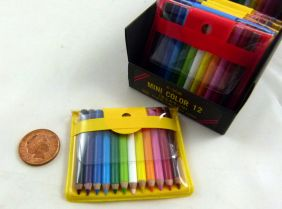 12 Very Small Mini Color Pencils in Pouch. 4.5cm Length from Japan (1 set - Random Pouch colour in Blue, Yellow or Red)