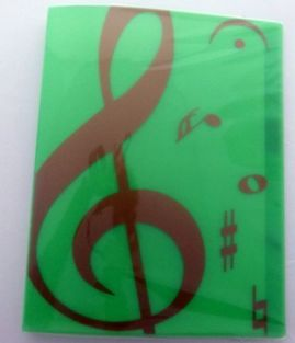 Music themed 20 Pockets Plastic Folder Display Book Soft Cover - Green Treble Clef design