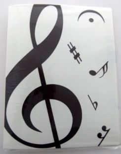 Music themed 20 Pockets Plastic Folder Display Book Soft Cover - White Treble Clef design