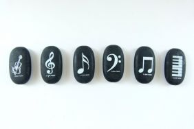 Music Themed 6 pieces Dark Solid Pebble Erasers