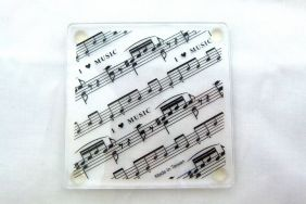 Music Themed Acrylic Coaster - I love (heart) Music