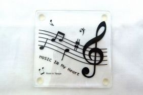 Music Themed Acrylic Coaster - Music in my heart
