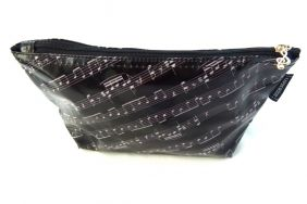 Music Themed Black Music Score Sheet Design Travel/Stationery/Accessories Flat Base Zipper Bag