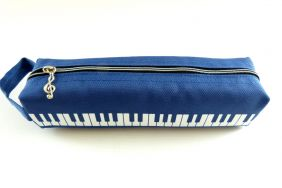 Music Themed Blue Keyboard Design Tube Shape Zipper Pencil Case with Hand Handle