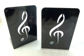 Music Themed Bookend - A Pair of Solid Black Treble Clef Design Metal Book Stand (2 pieces)