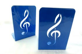 Music Themed Bookend - A Pair of Solid Blue Treble Clef Design Metal Book Stand (2 pieces)