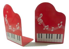 Music Themed Bookend - Red Grand Piano Shape with Musical Note Book Stand (2 pieces)