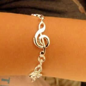 Music Themed Alloy Treble Clef Design Bracelet - Small Size - 18cm long - Children Size