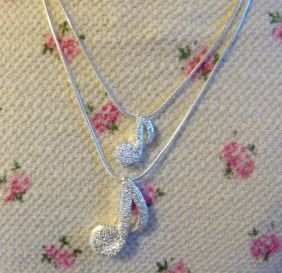 Music Themed Double Musical Eighth Notes Pendants Silver Necklace