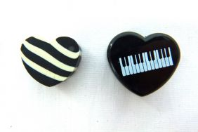 Music Themed Heart Shape Eraser in Plastic Case - Black
