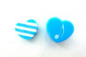 Music Themed Heart Shape Eraser in Plastic Case - Blue