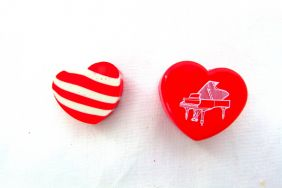 Music Themed Heart Shape Eraser in Plastic Case - Red