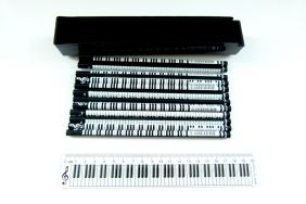 Music Themed Keyboard Design Ruler Kit with 12 pencils - Black Case
