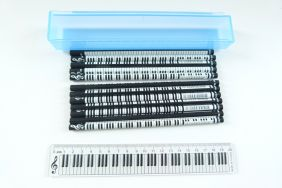 Music Themed Keyboard Design Ruler Kit with 12 pencils - Blue Case