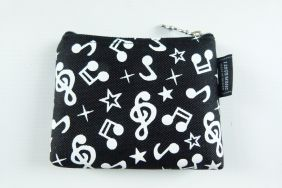 Music Themed Mini Coin Pouch Zipper Bag - Embossed Black White Musical Note Design