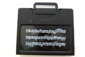 Music Themed Music Score Sheets Design Black Plastic A4 Carry-on File Case/Bag