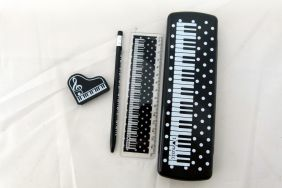 Music Themed Piano Black Pencil Case with Mechanical Pencil, Ruler and Eraser Stationery Set