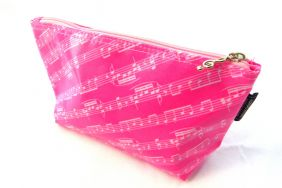 Music Themed Pink Music Score Sheet Design Travel/Stationery/Accessories Flat Base Zipper Bag