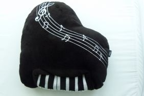 Music Themed Plush Fabric Cushion Pillow - Black Piano Design