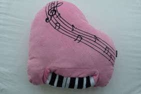 Music Themed Plush Fabric Cushion Pillow - Pink Piano Design