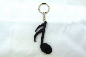 Music Themed Sixteenth Note Key Chain - Black