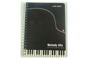 Music Themed Spiral Bound Melody life Black Piano Keys Design Notebook size: 173mm x 130mm