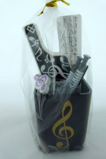 Music Themed Stationery - Gold Treble Clef Square Pen Holder Set