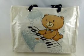 Music Themed Stylish Horizontal Tote Bag - Canvas with Soft PVC layer Waterproof - white teddy on piano design