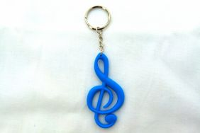 Music Themed Treble Clef Key Chain - Blue