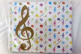 Music Themed White Gold Treble Clef Music Notes Mouse Pad