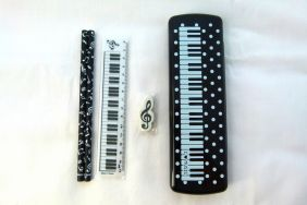 Music Themed White Spots Piano Keys Black PVC Plastic Pencil Case with Pencils, Ruler and Eraser Stationery Set