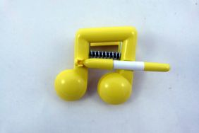 Music Themed Bright Colour Beam Note Clip with Pen - Yellow