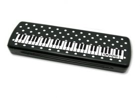 Music Themed Black Pencil Case with keyboard and spots Design