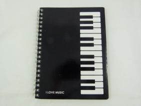 PartyErasers FunMusic Spiral Bound Black Piano design notebook Size 17cm x 13cm