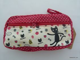 ZakkaUK: Kawaii Zipper Pouches Zakka Style Animal Design - Red (Sharon Cat)