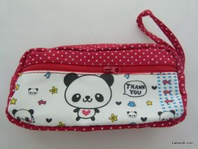 ZakkaUK: Kawaii Zipper Pouches Zakka Style Animal Design - Red (Panda)