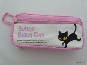 ZakkaUK: Kawaii Zipper Pouches Zakka Style Animal Design - Pink (Sharon Black Cat)