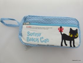 ZakkaUK: Kawaii Zipper Pouches Zakka Style Animal Design - Blue (Sharon Black Cat)