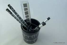 PartyErasers FunMusic Musical Notes Pencil Pens Stationery Holder Organiser with 3 Compartments (Black)